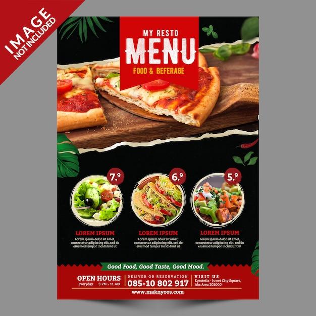Food menu flyer vorlage vorderseite Premium PSD