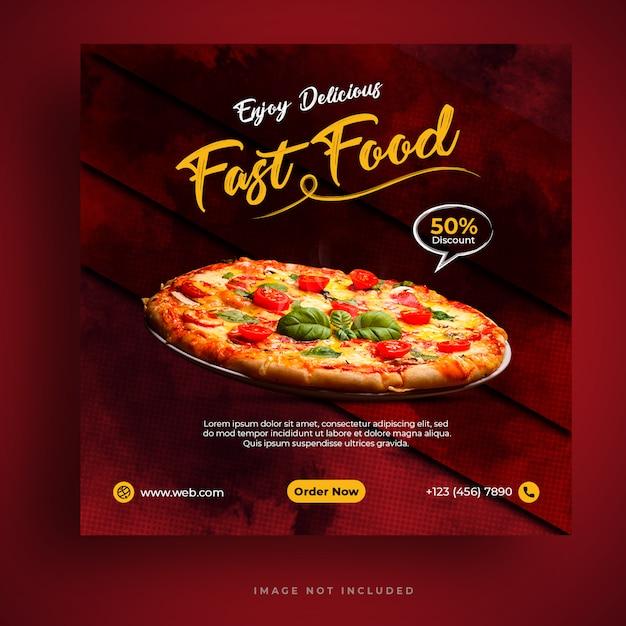 Food-menü und restaurant pizza social media banner vorlage Premium PSD