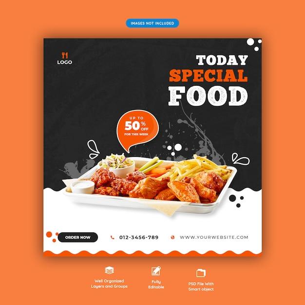 Food-menü und restaurant social media banner vorlage Premium PSD