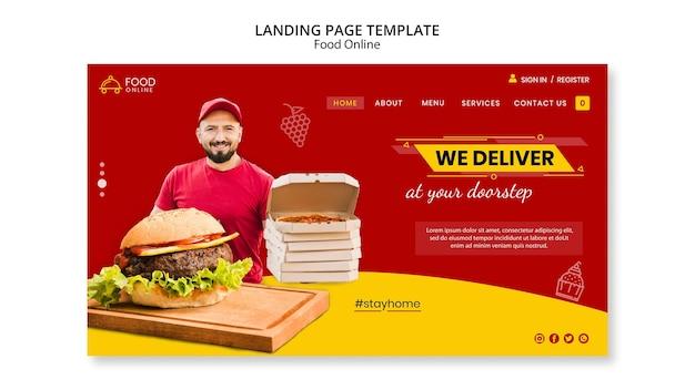 Food online-konzept landing page mock-up Kostenlosen PSD