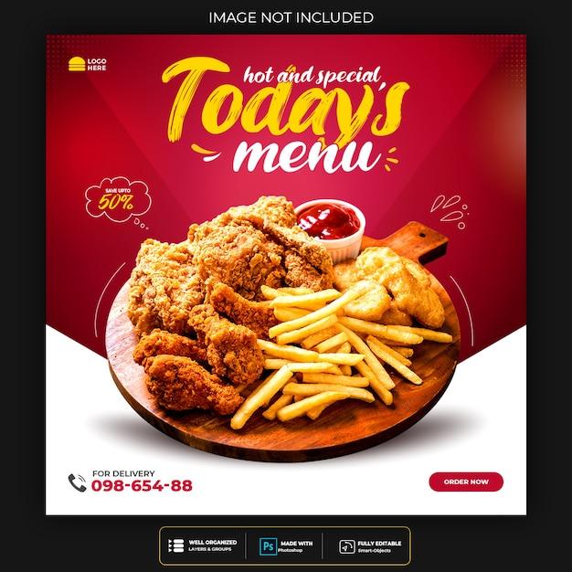 Food social media promotion und instagram banner post design Kostenlosen PSD