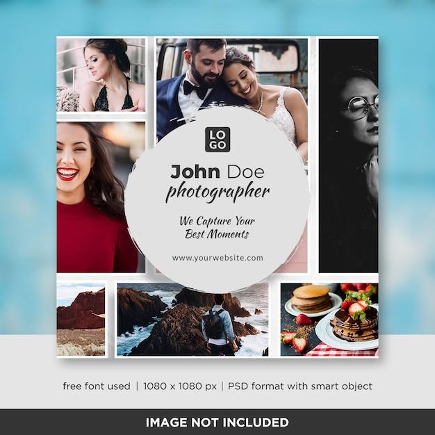 Fotografie square banner oder flyer vorlage Premium PSD
