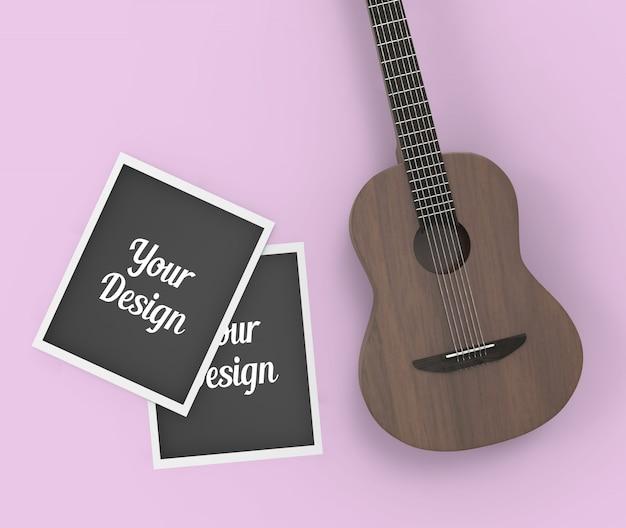 Fotorahmen und gitarrenmodell Premium PSD