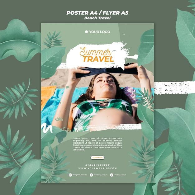Frau auf dem strand sommerreise poster vorlage Kostenlosen PSD