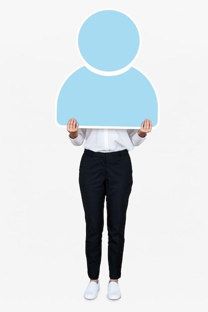 Frau, die eine blaue benutzerikone hält Kostenlosen PSD