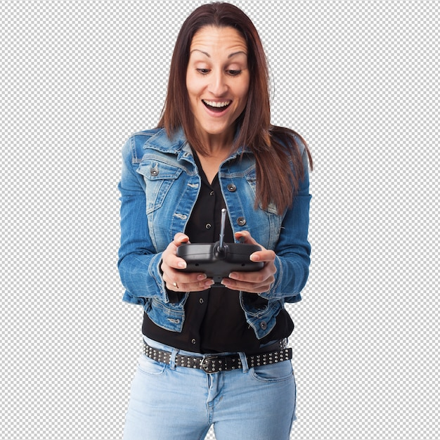 Frau mit einer fernautosteuerung Premium PSD