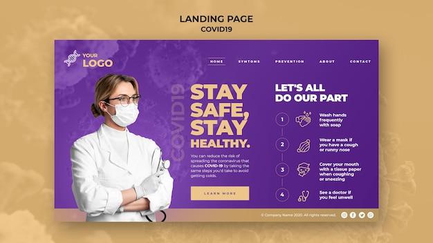 Frau mit maske covid-19 landingpage vorlage Kostenlosen PSD