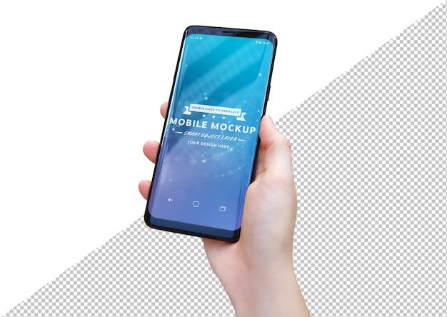 Frauenhand, die modernes smartphone-modell hält Premium PSD