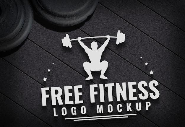 Free fitness logo mock herauf turnhallen-teppichhintergrund Premium PSD