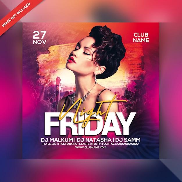 Freitag nacht party flyer Premium PSD