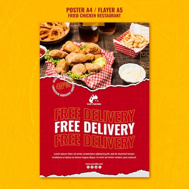 Fried chicken kostenlose lieferung poster vorlage Kostenlosen PSD