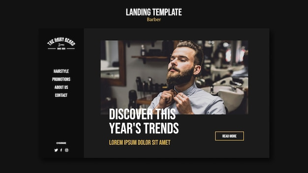 Friseur-landingpage-vorlage Premium PSD