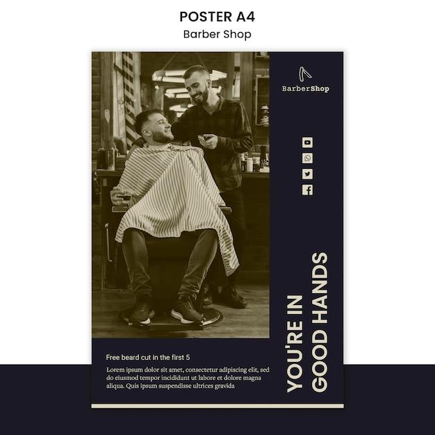 Friseurplakatvorlage mit bild Kostenlosen PSD