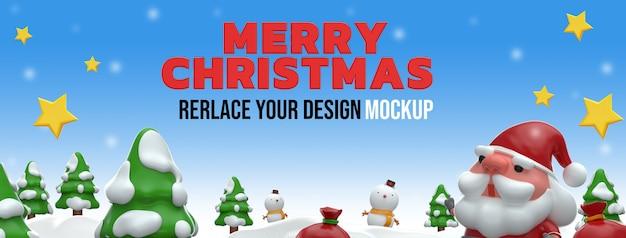 Frohe weihnachten 3d rendering mockup design Premium PSD
