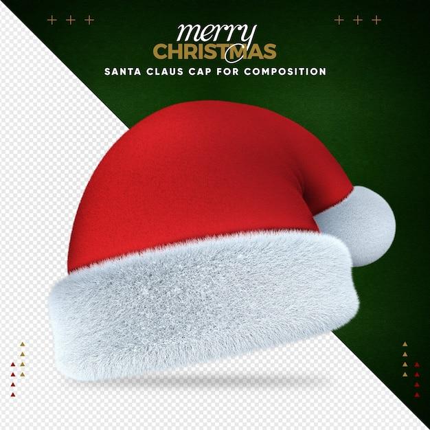 Frohe weihnachten der weihnachtsmütze 3d für komposition Premium PSD