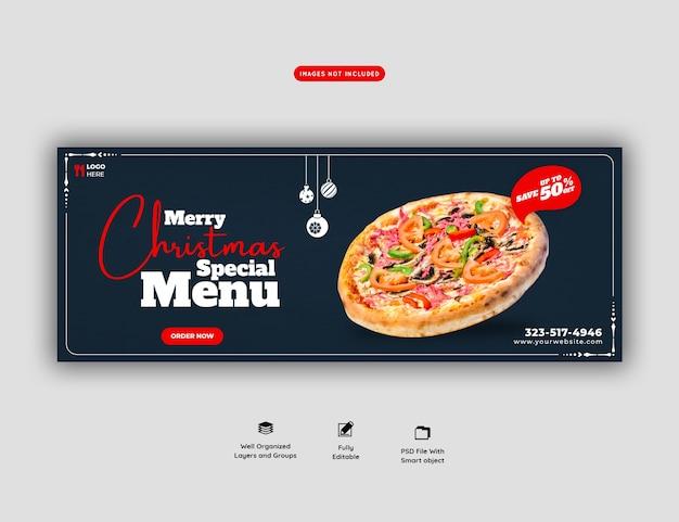 Frohe weihnachten essen menü und köstliche pizza facebook cover banner vorlage Kostenlosen PSD