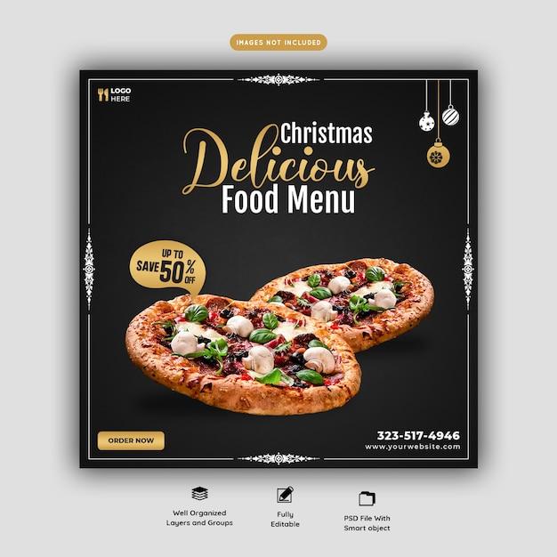 Frohe weihnachten essen menü und köstliche pizza social media banner vorlage Kostenlosen PSD