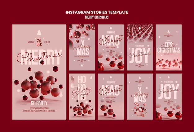 Frohe weihnachten instagram geschichten vorlage Premium PSD
