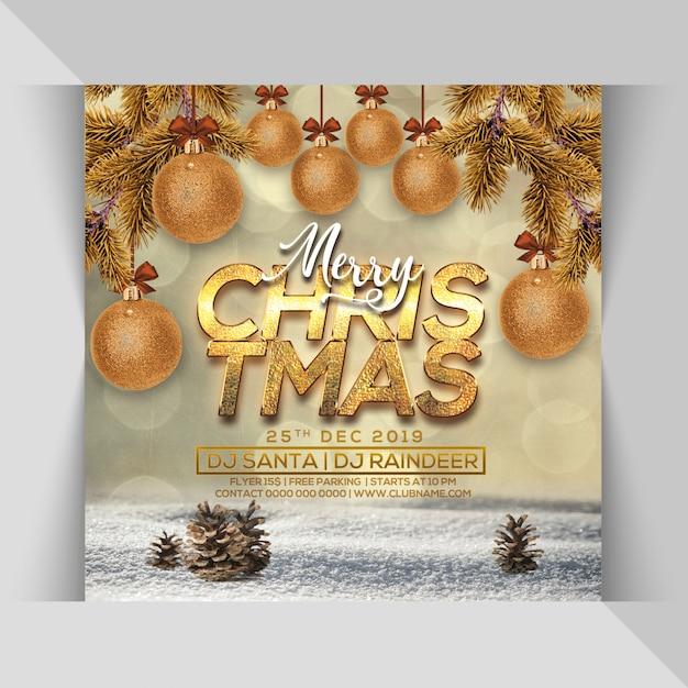 Frohe weihnachten party flyer Premium PSD