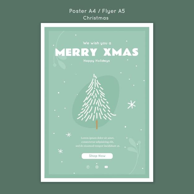 Frohe weihnachten poster vorlage Kostenlosen PSD