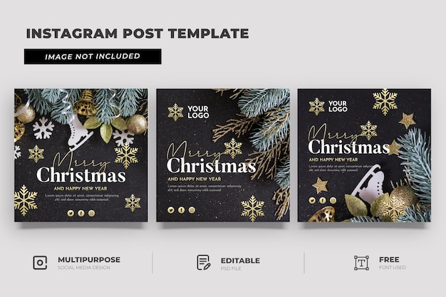 Frohe weihnachten social media template post Premium PSD