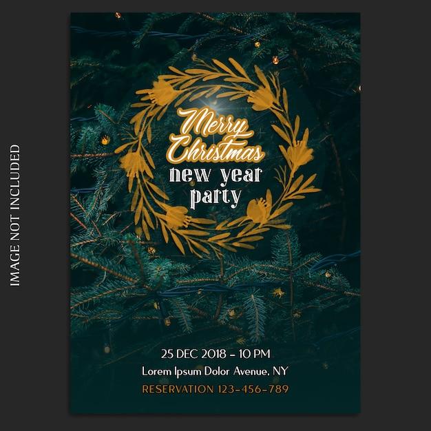 Frohe weihnachten und ein glückliches neues jahr 2019 foto mockup und einladungskarte oder flyer vorlage Premium PSD