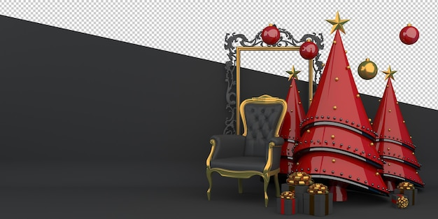 Frohe weihnachten und ein gutes neues jahr 3d-rendering Premium PSD