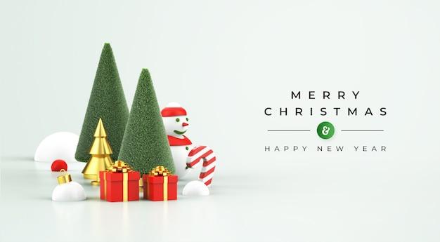 Frohe weihnachten und ein gutes neues jahr modell mit 3d weihnachtsdekoration Premium PSD