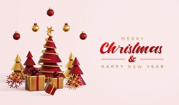 Frohe weihnachten und frohes neues jahr banner vorlage mit kiefer, geschenkboxen und hängelampen Premium PSD