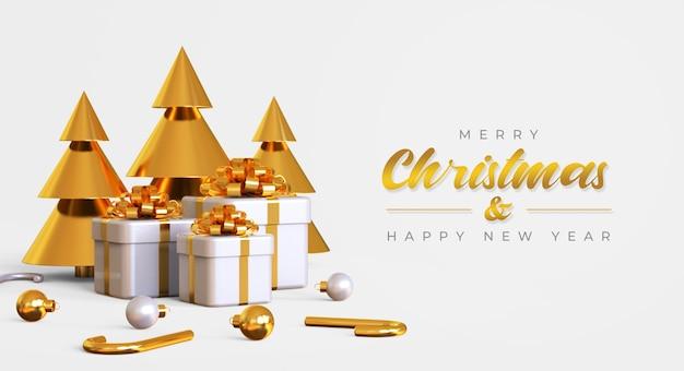 Frohe weihnachten und frohes neues jahr banner vorlage mit kiefer, geschenkboxen und lampen Premium PSD