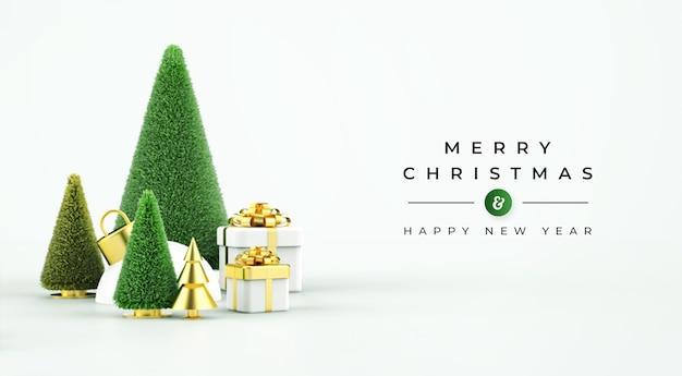 Frohe weihnachten verkauf banner mit 3d-objekten Premium PSD