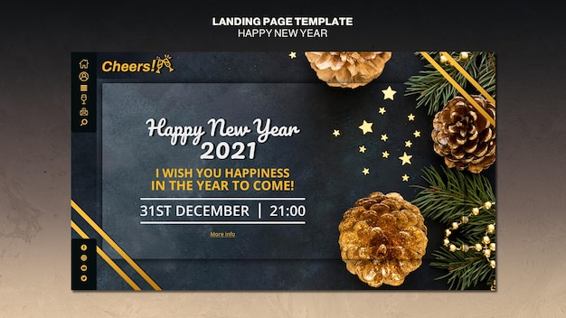 Frohes neues jahr 2021 landingpage vorlage Premium PSD