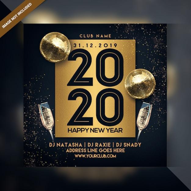 Frohes neues jahr feier party flyer Premium PSD