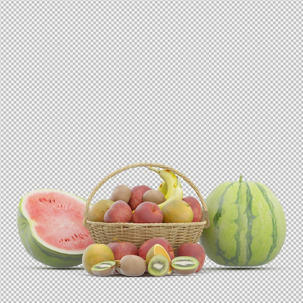 Früchte 3d übertragen Premium PSD