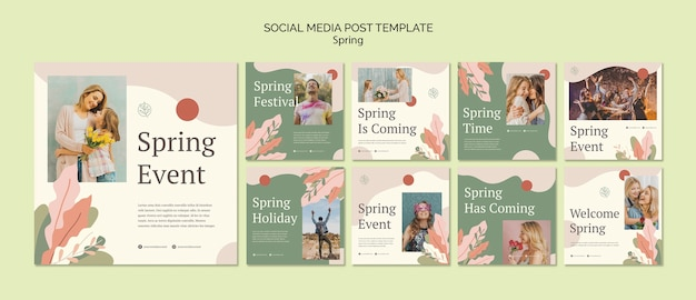 Frühlingsereignissocial media-beitragsschablone Kostenlosen PSD