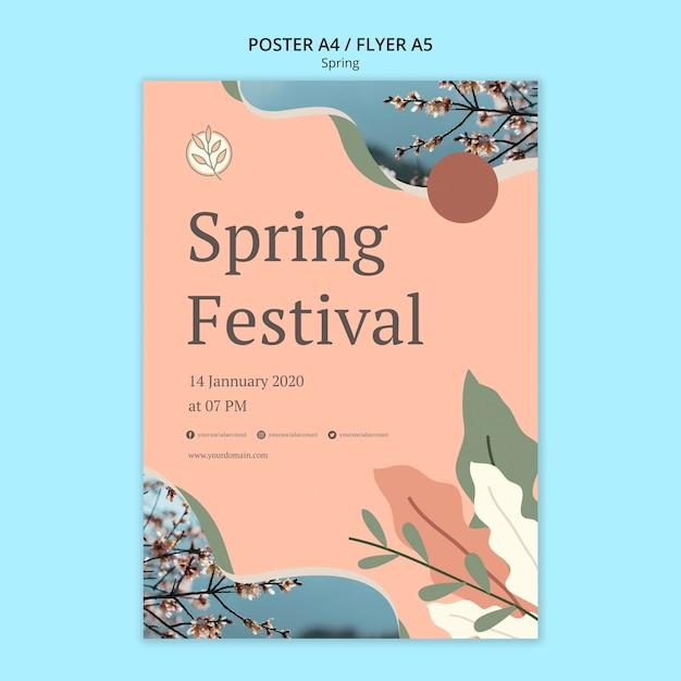 Frühlingsfestplakat mit blättern und blumen Kostenlosen PSD