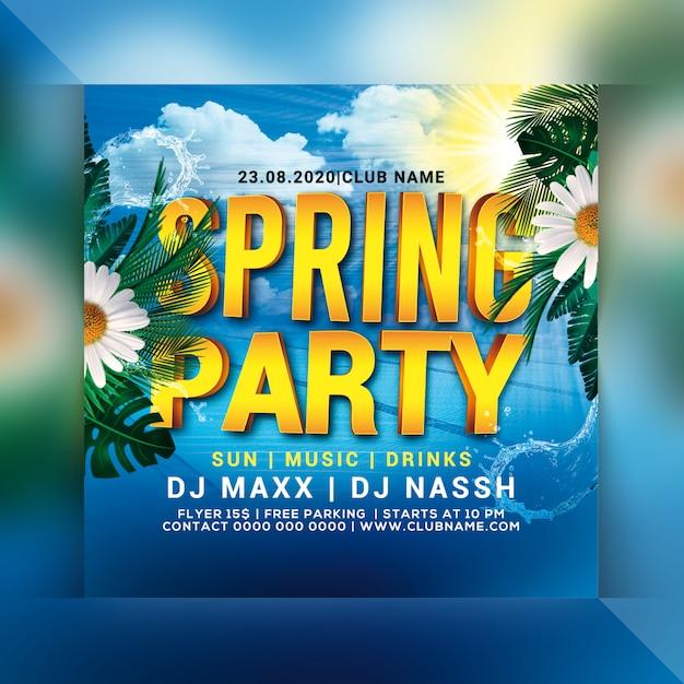 Frühlingsparty flyer Premium PSD
