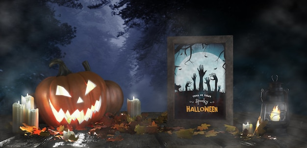 Furchterregende dekoration für halloween mit gerahmtem horrorfilmplakat Kostenlosen PSD