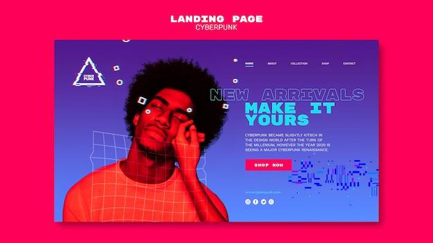 Futuristische cyberpunk-landingpage Premium PSD