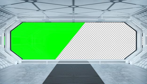 Futuristischer innenraum des weißen raumschiffs mit herausgeschnittenem fenster Premium PSD