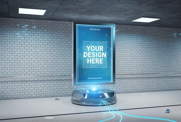 Futuristisches anschlagtafelintunnel-stationsmodell Premium PSD