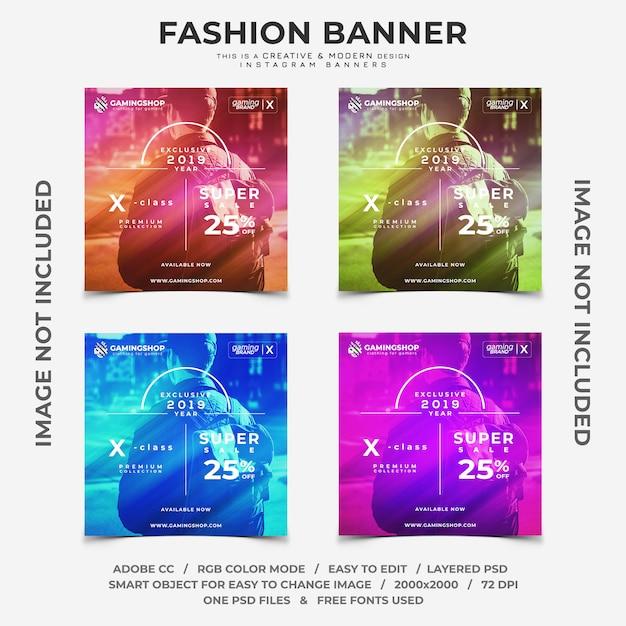 Gamer mode rabatte instagram banner Premium PSD