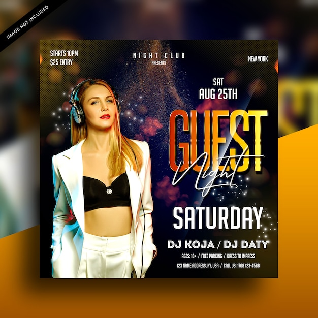 Gast nacht dj party flyer Premium PSD