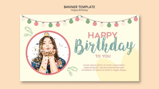 Geburtstagsfeier banner vorlage mit foto Kostenlosen PSD