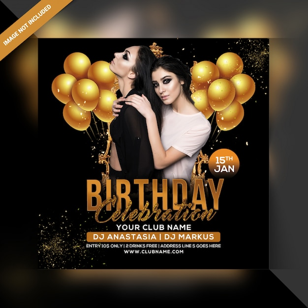 Geburtstagsfeier party poster Premium PSD