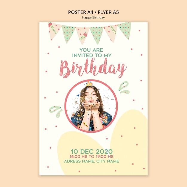 Geburtstagsfeierplakatschablone mit foto Kostenlosen PSD