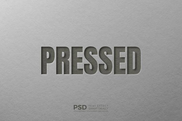 Gedrückte 3d-texteffektvorlage Premium PSD