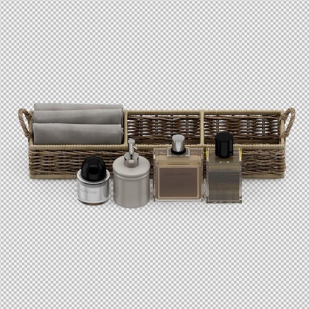 Gefaltete handtücher in körben und kosmetikflaschen Premium PSD