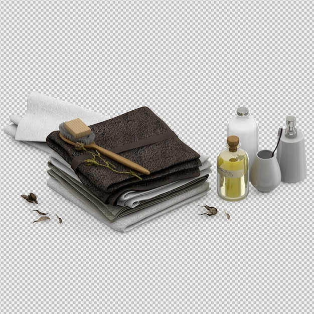 Gefaltete tücher mit dem lokalisierten badezimmerzubehör 3d übertragen Premium PSD