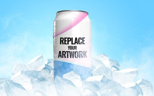 Gefrorene dose ice soda werbemodell Premium PSD